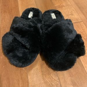 PINK fuzzy black slippers size large